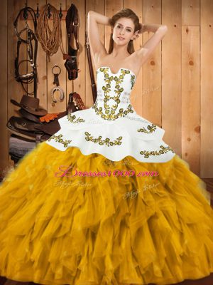 Custom Designed Ball Gowns Vestidos de Quinceanera Gold Strapless Satin and Organza Sleeveless Floor Length Lace Up