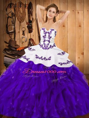 Deluxe Satin and Organza Strapless Sleeveless Lace Up Embroidery and Ruffles 15 Quinceanera Dress in White And Purple