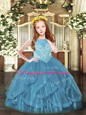 Teal Ball Gowns Scoop Sleeveless Tulle Floor Length Zipper Beading and Ruffles Kids Pageant Dress
