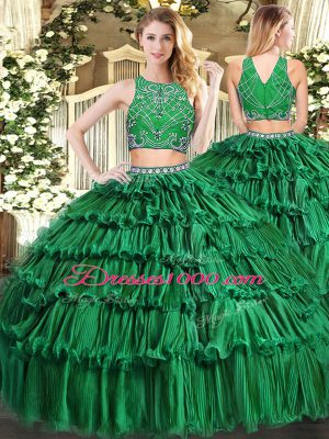 Dark Green Sleeveless Floor Length Beading and Appliques and Ruffled Layers Zipper Quinceanera Dresses