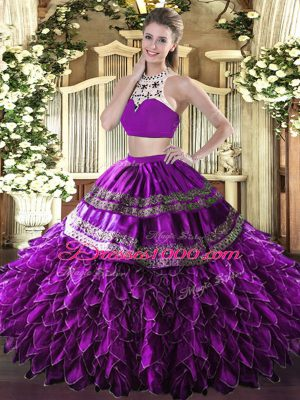 Hot Selling Eggplant Purple Tulle Backless Sweet 16 Quinceanera Dress Sleeveless Floor Length Beading and Ruffles