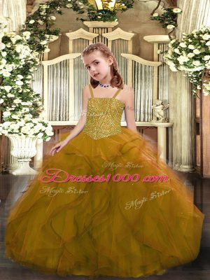 Olive Green Straps Lace Up Beading and Ruffles Little Girls Pageant Dress Wholesale Sleeveless