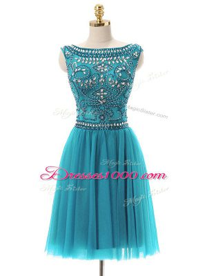 Beading Prom Dresses Teal Zipper Sleeveless Mini Length