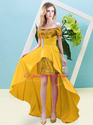 Flare High Low Lace Up Prom Dresses Gold for Prom and Party with Beading