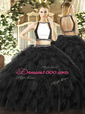 Delicate Sleeveless Floor Length Ruffles Backless 15 Quinceanera Dress with Black