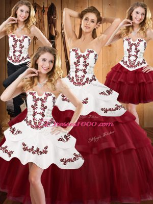 Dramatic Burgundy Lace Up Strapless Embroidery and Ruffled Layers Quinceanera Dress Satin and Organza Sleeveless