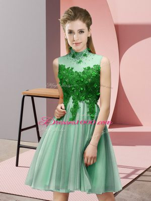 Tulle Sleeveless Knee Length Wedding Party Dress and Appliques