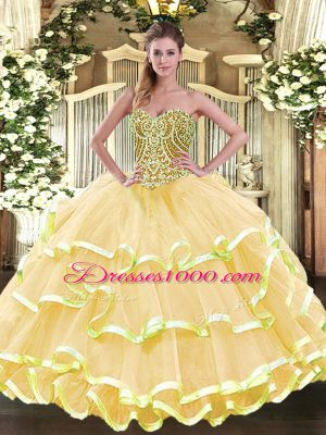 Best Organza Sweetheart Sleeveless Lace Up Beading and Ruffled Layers Quinceanera Dress in Gold