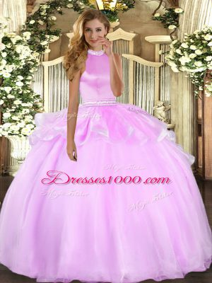Latest Tulle Halter Top Sleeveless Backless Beading and Ruffles Sweet 16 Dress in Lilac
