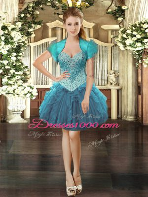 Beading and Ruffles Prom Evening Gown Teal Lace Up Sleeveless Mini Length