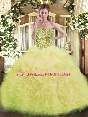 Most Popular Asymmetrical Ball Gowns Sleeveless Yellow Green Vestidos de Quinceanera Lace Up