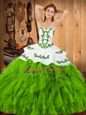 Hot Selling Embroidery and Ruffles 15th Birthday Dress Lace Up Sleeveless Floor Length