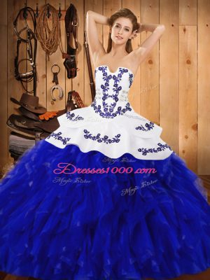 Blue And White Satin and Organza Lace Up Sweet 16 Dresses Sleeveless Floor Length Embroidery and Ruffles