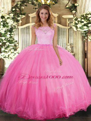 Floor Length Rose Pink 15th Birthday Dress Scoop Sleeveless Clasp Handle