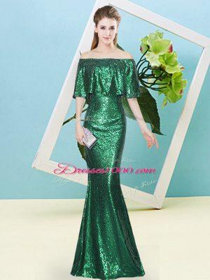 Floor Length Dark Green Womens Party Dresses Sequined Half Sleeves Sequins
