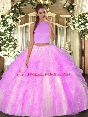 Fine Sleeveless Organza Floor Length Backless Quinceanera Gown in Lilac with Beading and Ruffles