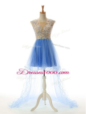 Trendy Baby Blue Sleeveless Appliques High Low Homecoming Dress