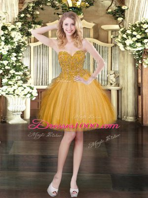 Super Gold Sleeveless Lace Lace Up Dress for Prom for Prom and Party