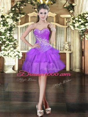 Fantastic Purple Sleeveless Beading and Ruffled Layers Mini Length Evening Dress