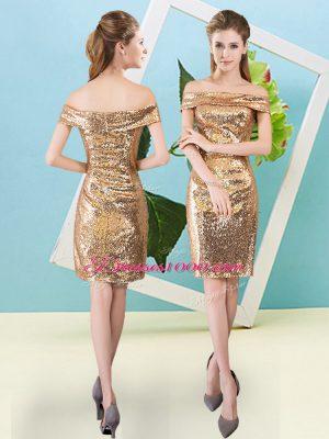 Sequins Dress for Prom Gold Zipper Short Sleeves Mini Length