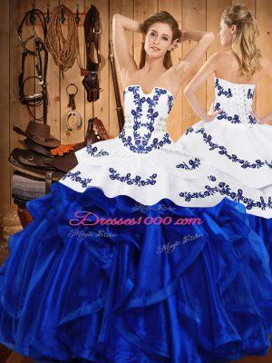 Super Floor Length Lace Up Quinceanera Dress Royal Blue for Military Ball and Sweet 16 and Quinceanera with Embroidery and Ruffles