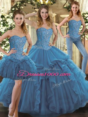 Luxurious Floor Length Teal Sweet 16 Quinceanera Dress Sweetheart Sleeveless Lace Up
