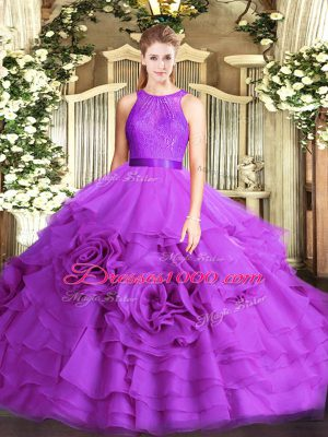 Designer Scoop Sleeveless Lace Up Quinceanera Gowns Eggplant Purple Fabric With Rolling Flowers