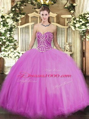 Sweet Sweetheart Sleeveless Tulle Quinceanera Gowns Beading Lace Up