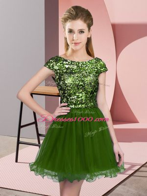 Olive Green Bridesmaids Dress Prom and Party and Wedding Party with Sequins Scoop Cap Sleeves Zipper