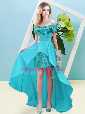 Off The Shoulder Short Sleeves Lace Up Womens Party Dresses Aqua Blue Elastic Woven Satin and Sequined