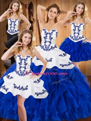 Floor Length Blue And White Sweet 16 Quinceanera Dress Strapless Sleeveless Lace Up