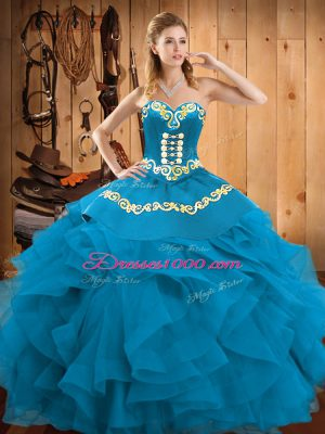 Teal Ball Gowns Sweetheart Sleeveless Satin and Organza Floor Length Lace Up Embroidery and Ruffles Quince Ball Gowns