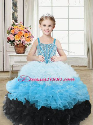 Beautiful Multi-color Organza Lace Up Sweetheart Sleeveless Floor Length Little Girls Pageant Dress Beading and Ruffles