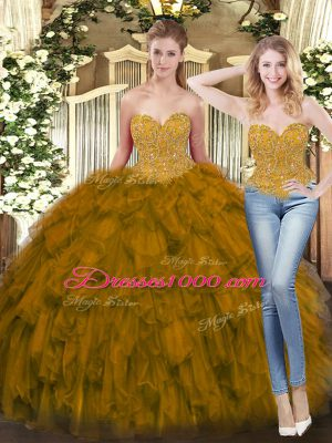 Enchanting Olive Green Sweetheart Lace Up Beading and Ruffles Quinceanera Gown Sleeveless