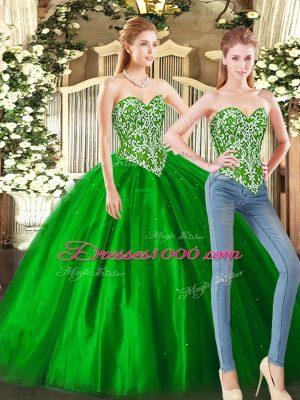 Green Sleeveless Beading Floor Length Quinceanera Gown