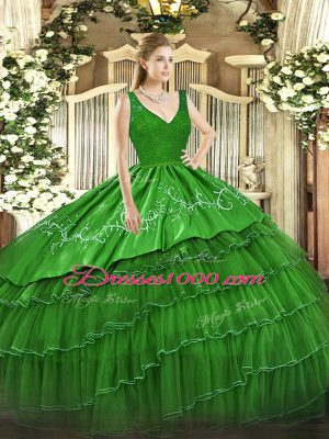 Zipper V-neck Beading and Embroidery and Ruffled Layers Quinceanera Gown Satin and Tulle Sleeveless