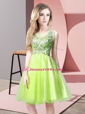 Scoop Sleeveless Tulle Party Dress Wholesale Beading Zipper