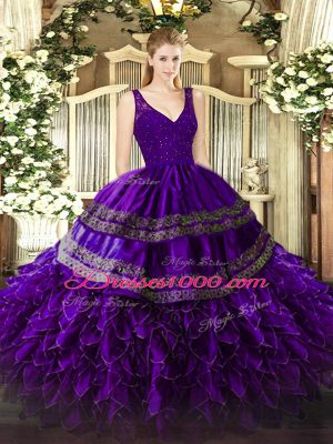 Purple Ball Gowns Organza V-neck Sleeveless Beading and Ruffles Floor Length Zipper Ball Gown Prom Dress