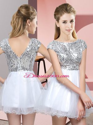 Adorable Cap Sleeves Zipper Mini Length Sequins Quinceanera Dama Dress