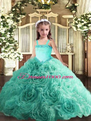 Turquoise Fabric With Rolling Flowers Lace Up Girls Pageant Dresses Sleeveless Floor Length Appliques