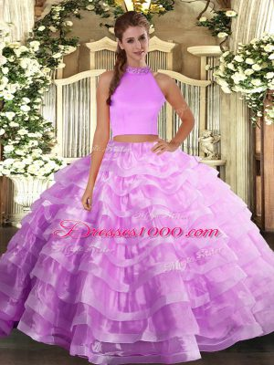 Organza Halter Top Sleeveless Backless Beading and Ruffled Layers Quinceanera Dress in Lilac