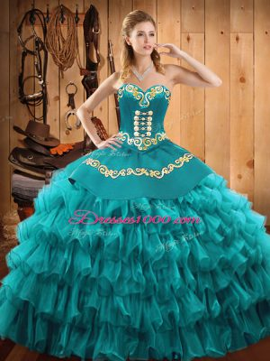 Glorious Teal Sleeveless Satin and Organza Lace Up 15 Quinceanera Dress for Military Ball and Sweet 16 and Quinceanera