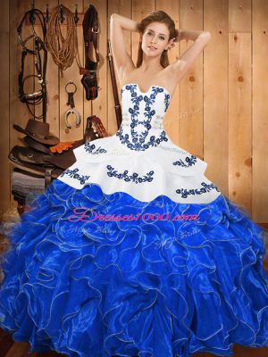 Stylish Blue And White Sleeveless Satin and Organza Lace Up Quinceanera Gowns for Military Ball and Sweet 16 and Quinceanera