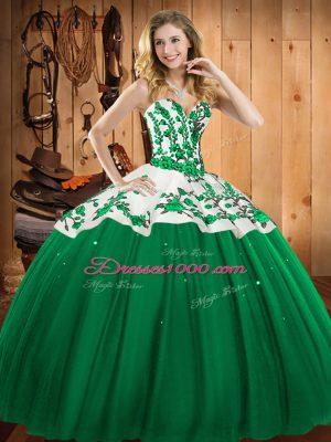 High Class Floor Length Dark Green Quinceanera Dress Sweetheart Sleeveless Lace Up