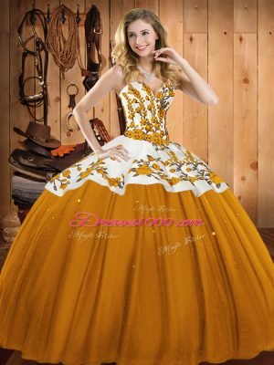 Embroidery Quinceanera Dress Gold Lace Up Sleeveless Floor Length