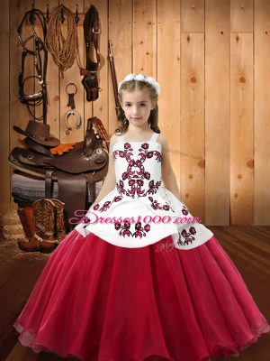 Coral Red Ball Gowns Embroidery Little Girls Pageant Dress Wholesale Lace Up Organza Sleeveless Floor Length