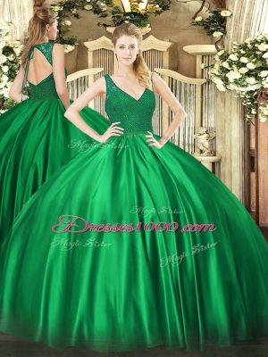 Fancy Turquoise V-neck Zipper Beading Ball Gown Prom Dress Sleeveless