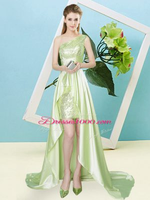 Free and Easy One Shoulder Sleeveless Lace Up Prom Dress Yellow Green Elastic Woven Satin and Sequined