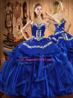 Embroidery and Ruffles Quinceanera Dress Royal Blue Lace Up Sleeveless Floor Length
