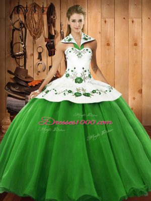 Deluxe Sleeveless Lace Up Floor Length Embroidery 15th Birthday Dress